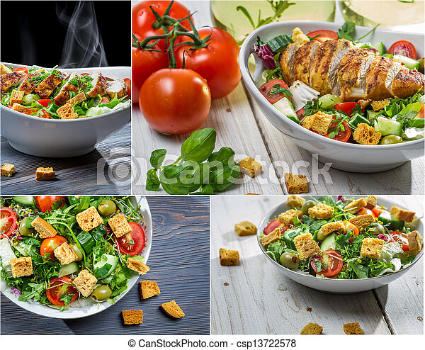 Healthy salad with chicken and fresh vegetables - csp13722578