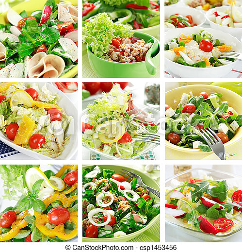 Healthy salads collage - csp1453456