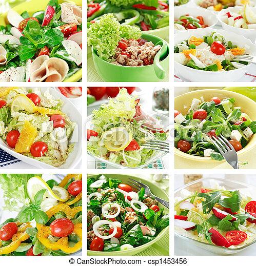 Healthy salads collage - csp1453456
