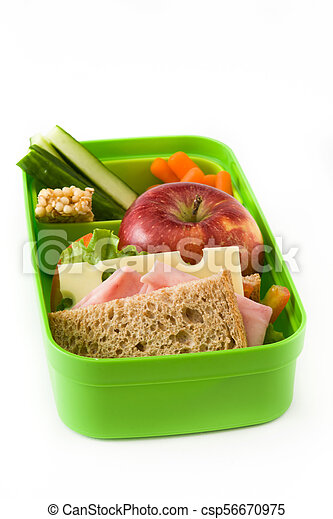 Healthy school lunch: Sandwich, vegetables and fruit isolated on white background - csp56670975