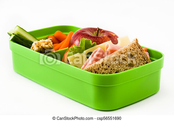 Healthy school lunch: Sandwich, vegetables and fruit. isolated on white background. - csp56551690