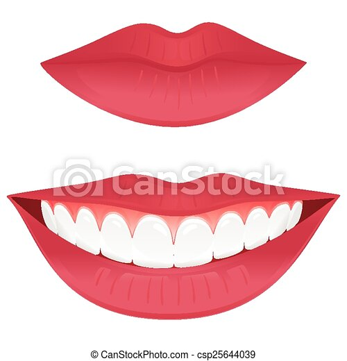Healthy smile. Closed lips and a smiling mouth with ... Pencil Drawings Of Lips Smiling