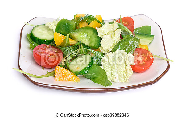 healthy vegetable salad on a plate - csp39882346