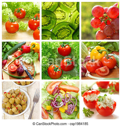 healthy vegetables and food collage - csp1984185