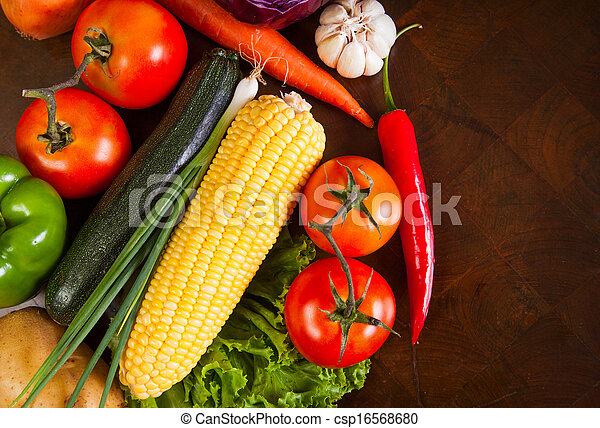 Healthy Vegetables on a Wooden Table - csp16568680