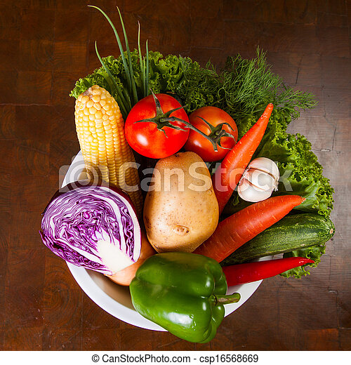 Healthy Vegetables on a Wooden Table - csp16568669