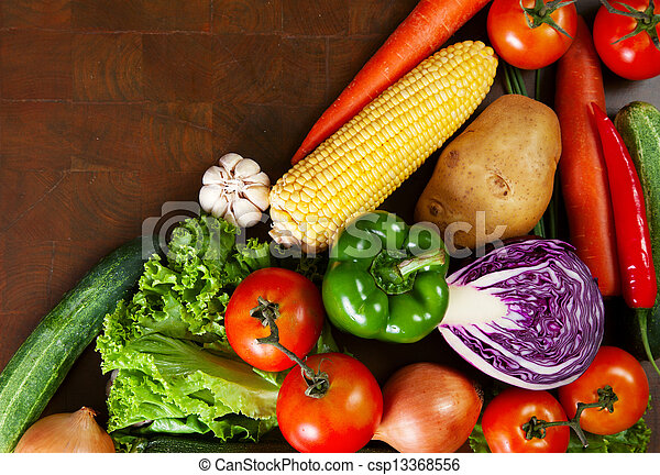 Healthy Vegetables on a Wooden Table - csp13368556