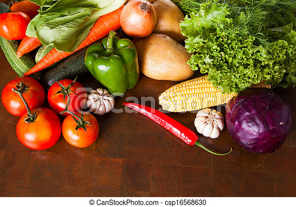 Healthy Vegetables on a Wooden Table - csp16568630