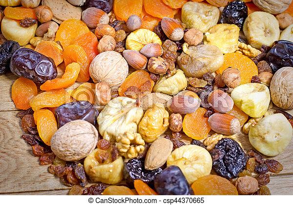 Healthy vegetarian food - dried fruit - csp44370665