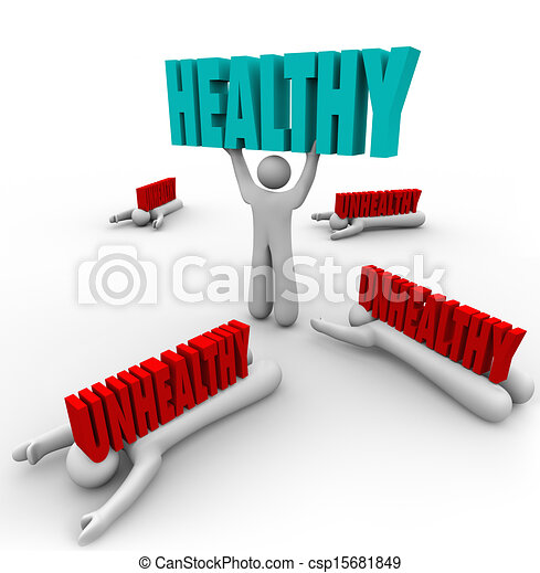 Healthy Vs Unhealthy One Person Good Health Fitness - csp15681849