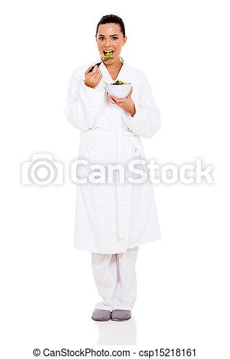 healthy woman eating salad - csp15218161