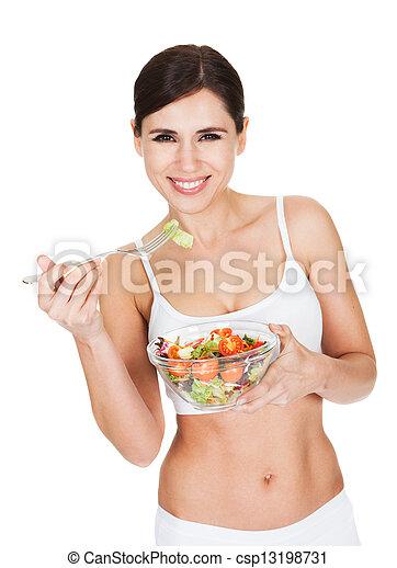 Healthy Woman Eating Salad - csp13198731