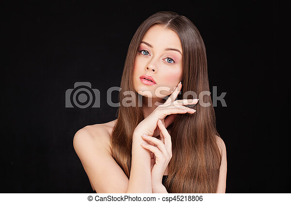 Healthy Woman Model with Long Shiny Hair and Perfect Skin - csp45218806