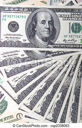 heap of American dollars (closeup) - csp2338063