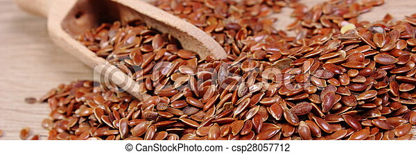 Heap of linseed with spoon on wooden background - csp28057712