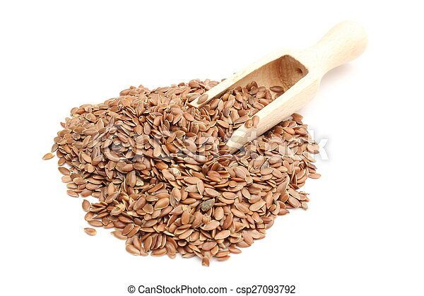 Heap of linseed with wooden spoon on white background - csp27093792