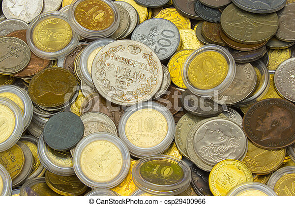 Heap of old dirty collection of coins for sale - csp29400966