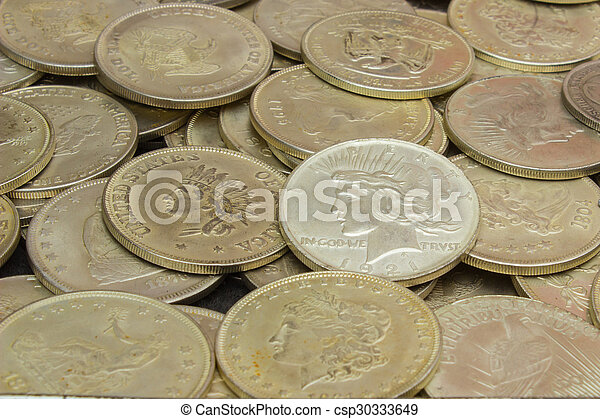 Heap of old dirty collection of coins for sale - csp30333649