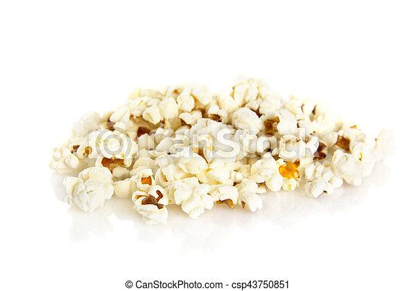 Heap of popcorn on white background - csp43750851