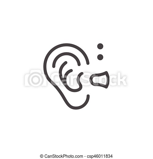 Hearing Aid Line Icon Isolated On White Vector Illustration Vectors