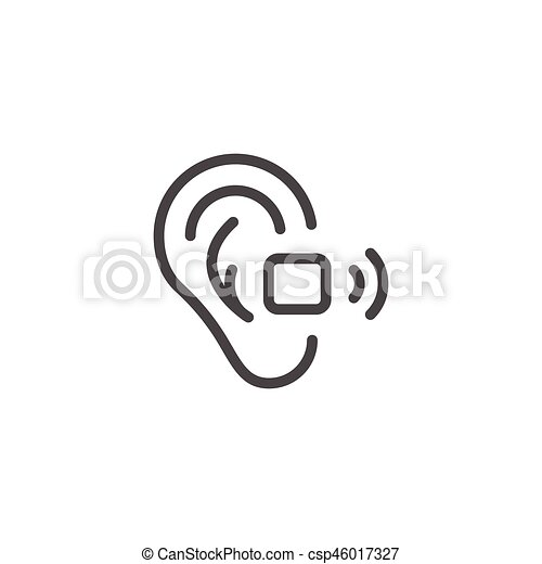 Hearing Aid Line Icon Isolated On White Vector Illustration Vector