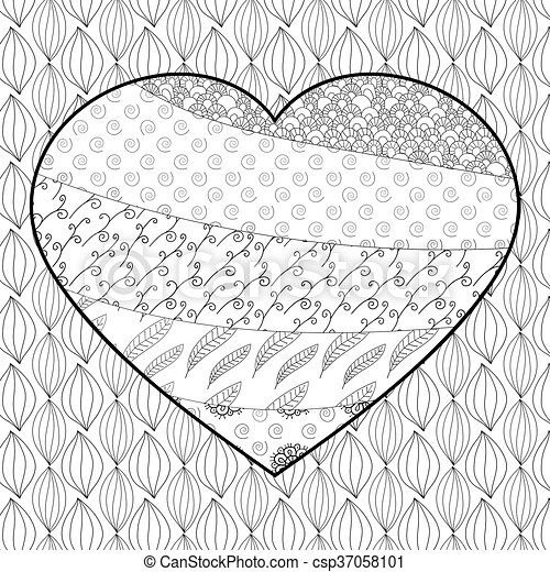Hearts zentangle coloring page | Heart coloring pages, Coloring ... | 470x450