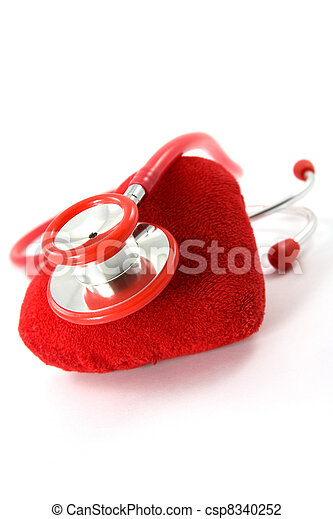 Heart and a stethoscope - csp8340252
