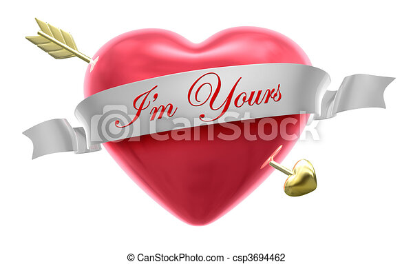 Clip Art Line Of Hearts : A heart and arrow ribbon saying i m yours clip art search