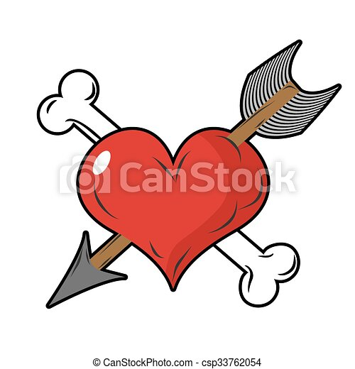 Heart And Arrow Symbol Of Love Bone And Heart Symbol Of Death Logo