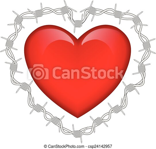 Heart and barbed wire.