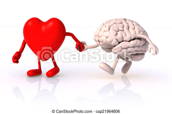 heart and brain that walk hand in hand, concept of health of walking - csp21964806