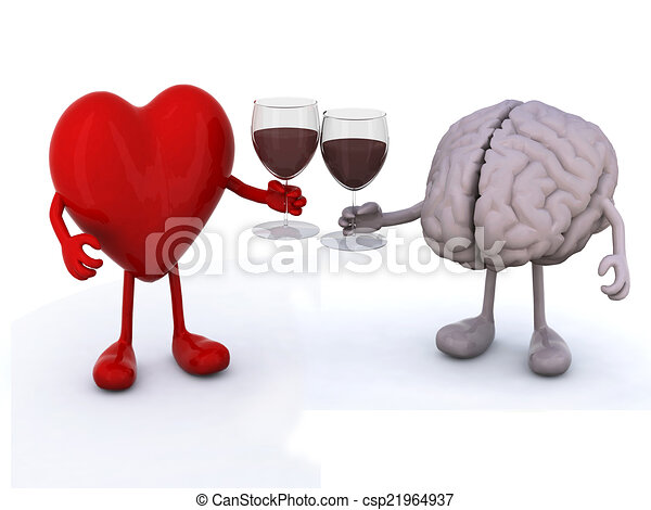 heart and brain with glass of red wine - csp21964937