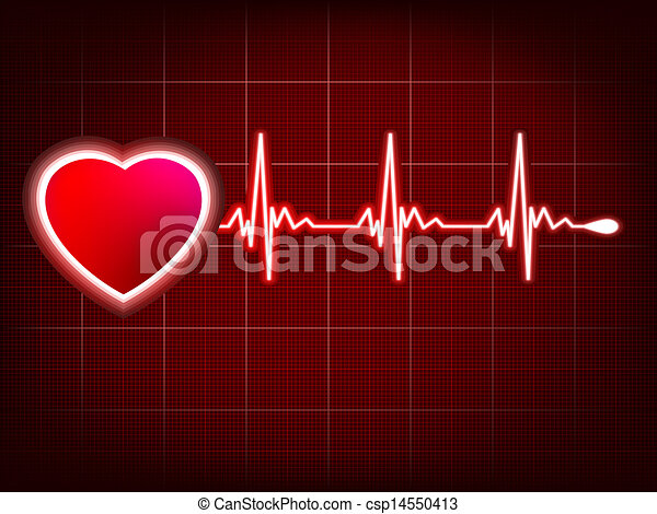 Heartbeat Line Art : Heart and heartbeat symbol on monitor eps vector file