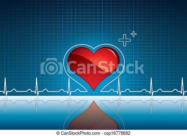 Heartbeat Line Art : Heart and heartbeat symbol on reflective surface medical vector
