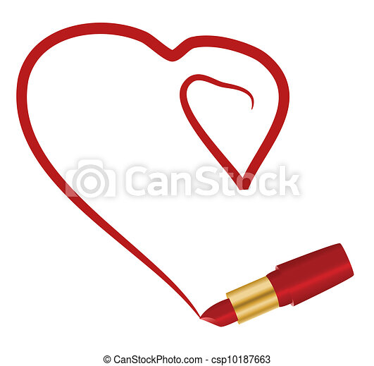 Heart And Lipstick Clip Art Vector Search Drawings And