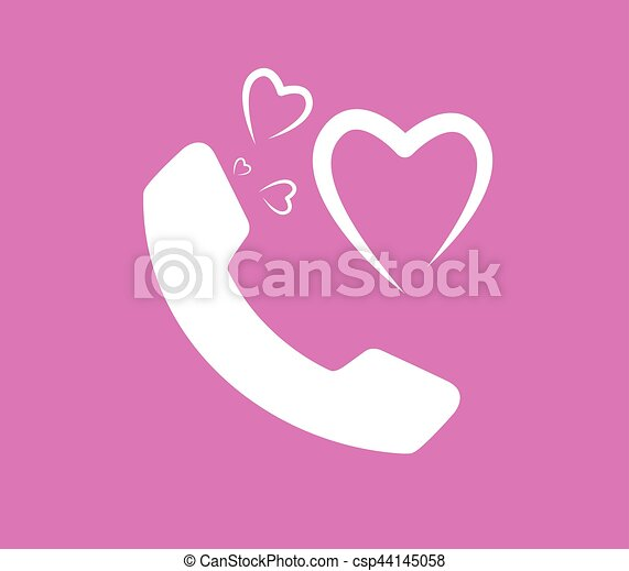 Heart and Phone Icon - csp44145058
