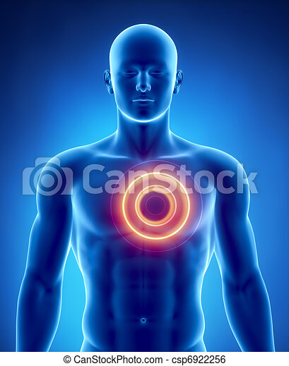 Heart attack concept with glowing circle - csp6922256