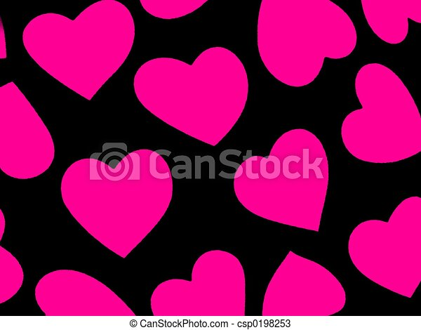 Clip Art Line Of Hearts : Heart background pin black with pink hearts fabric drawings