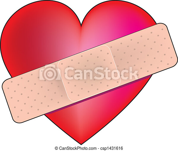 heart bandaid a big red heart with a bandaid across it stock rh canstockphoto com cross band aid clipart cute band aid clipart