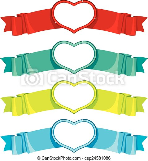 Heart Banners Collection - csp24581086