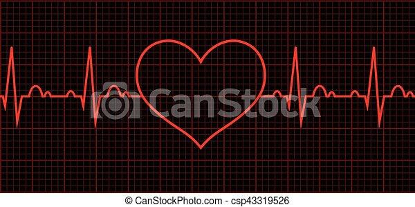 Heart beat. Cardiogram. Cardiac cycle - csp43319526