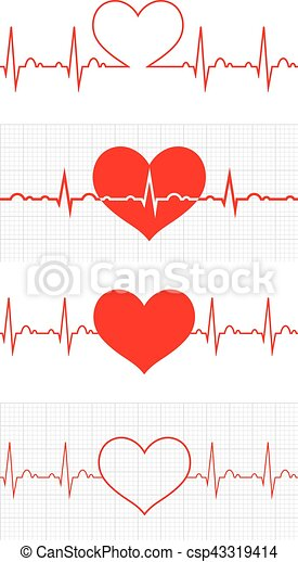 Heart beat. Cardiogram. Cardiac cycle. Medical icon. - csp43319414