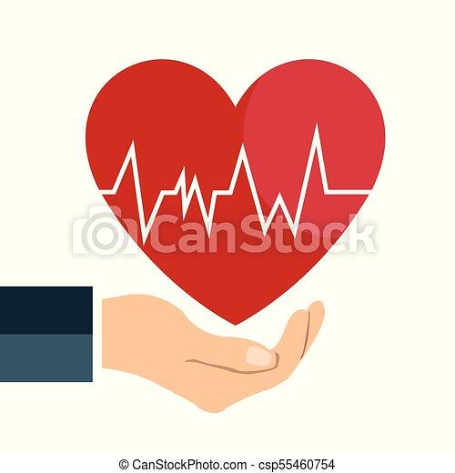 Heart beat line on hand icon on white background clipart vector heart beat line on hand icon on white background csp55460754 voltagebd Images