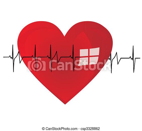 Heart beating a stong beat, of life - csp3328862