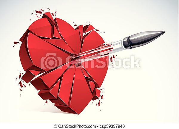 Heart Broken With Bullet Gun Shot 3d Realistic Vector Illustration Of Heart Symbol Exploding To Pieces Creative Idea Of Breaking Apart Love Break