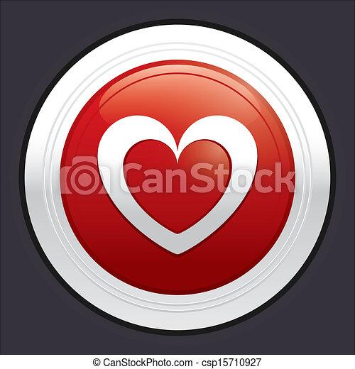 Heart button. Red round love sticker. - csp15710927