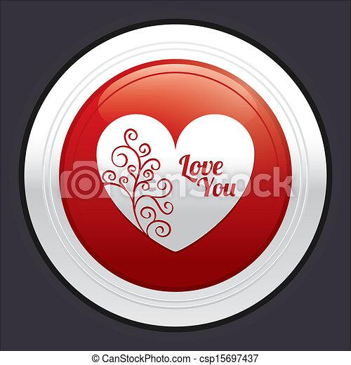 Heart button. Red round love sticker. - csp15697437