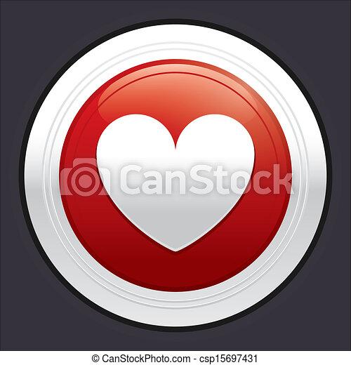 Heart button. Red round sticker. - csp15697431