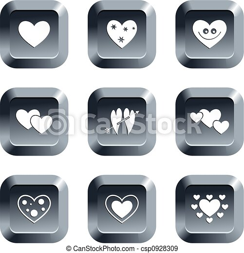 Heart Buttons Collection Of Heart Icons Set On Keypad Style Buttons