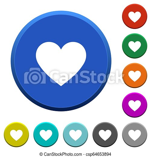 Heart card symbol beveled buttons - csp64653894